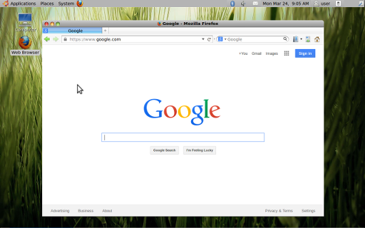 "A view of the desktop, with a browser window open to Google, in ""I Miss Aqua""."