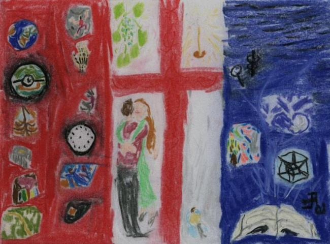 A flag, loosely a mirror image of the French flag, with a red cross on the white strip in the middle, and numerous smaller pictures; it is described in detail below.