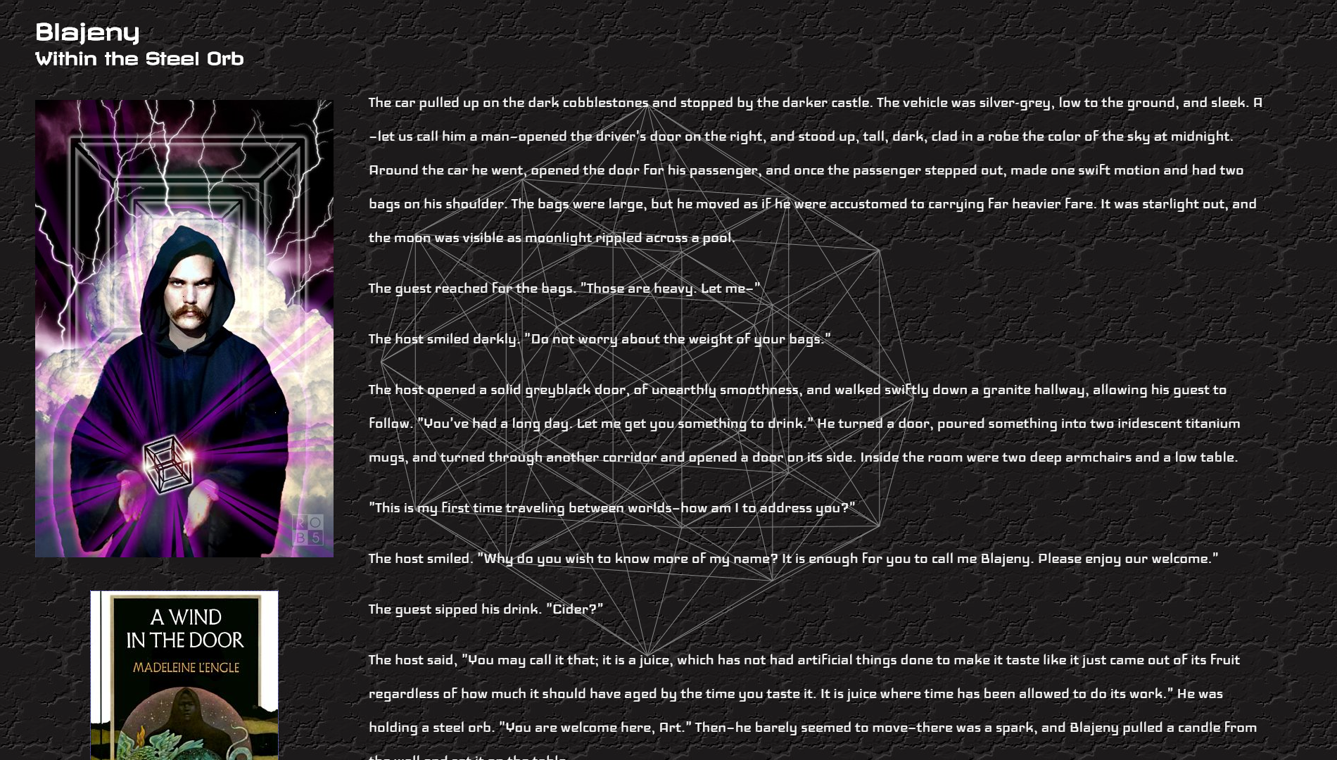 "A screenshot of a site with a short story, or Socratic dialogue, of Blajeny from Madeleine l'Engle's ""A Wind in the Door"""