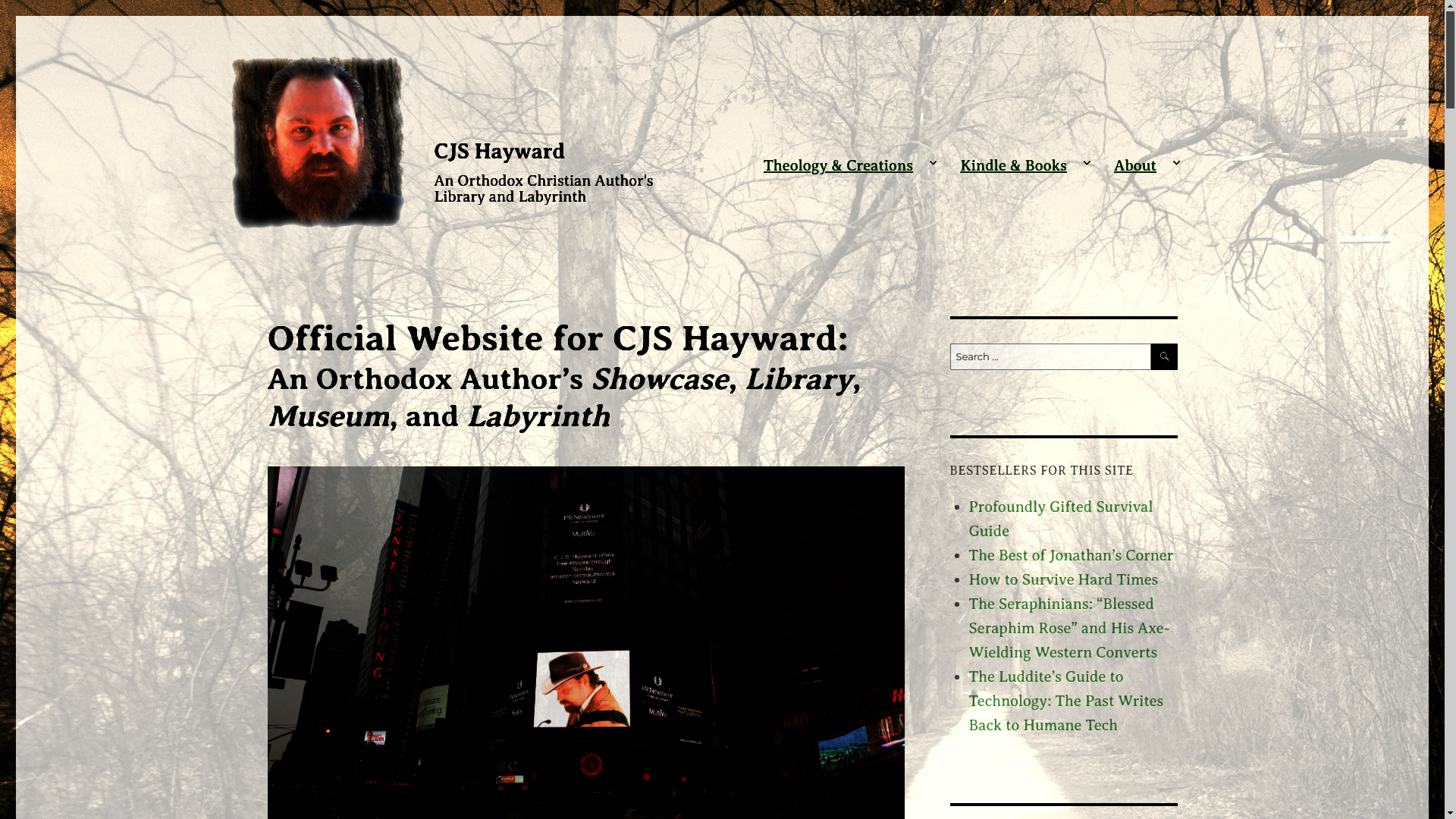 A screenshot of the CJSHayward.com homepage