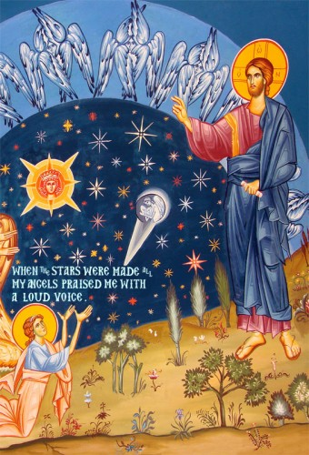 An icon of the angels rejoicing at the creation of the stars.