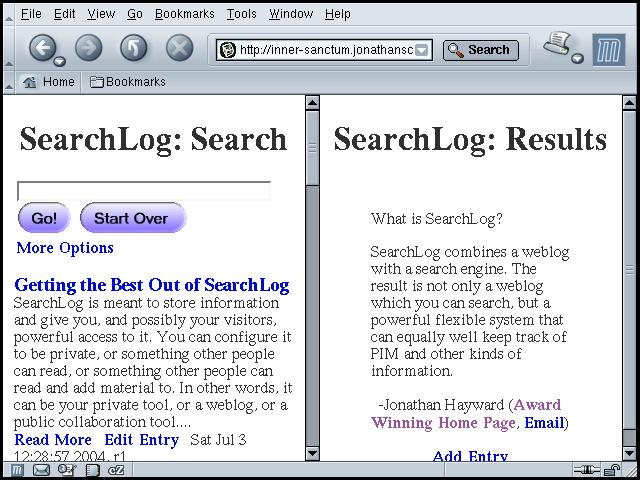 The Searchlog Searchable Weblog