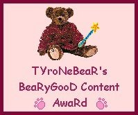 Tyrone Bear's Beary Good Content Award