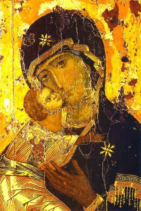 The Vladimir icon of the Mother of God holding Christ