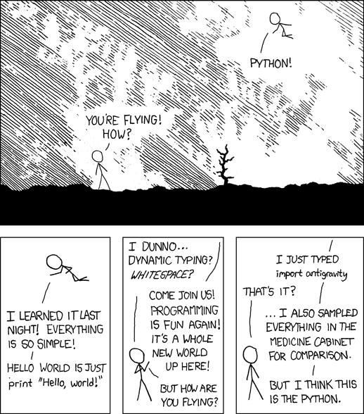 A famous xkcd comic showing someone flying after a first encounter with Python